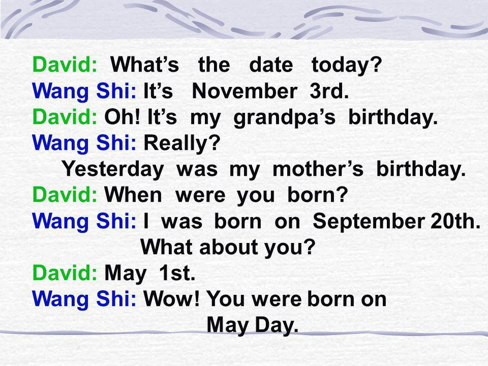 David: What's the date today