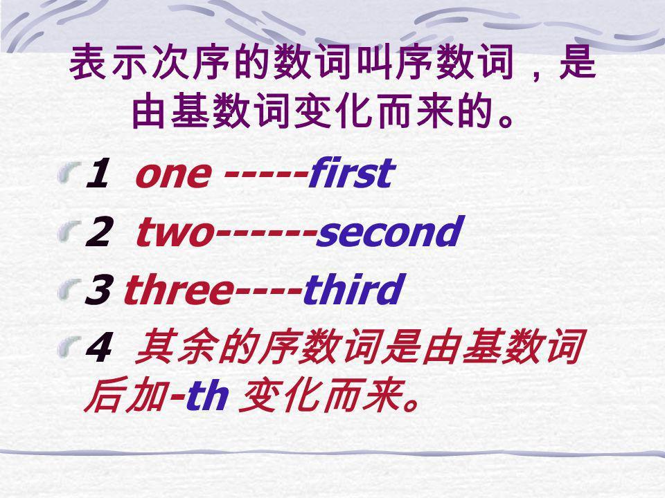 表示次序的数词叫序数词,是由基数词变化而来的。