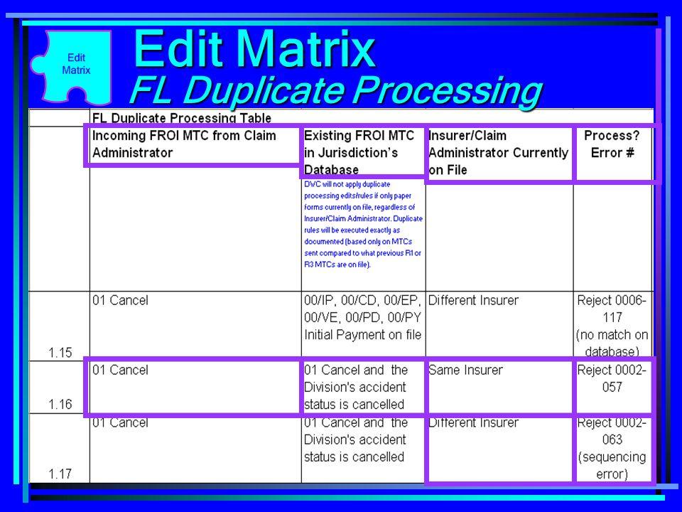Edit Matrix FL Duplicate Processing