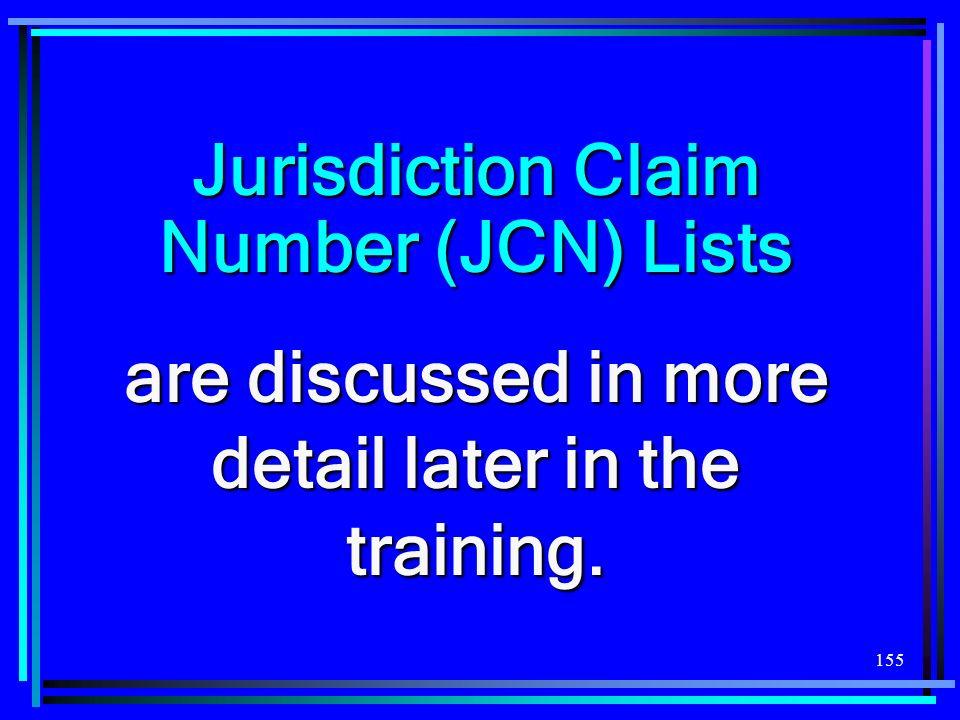 Jurisdiction Claim Number (JCN) Lists