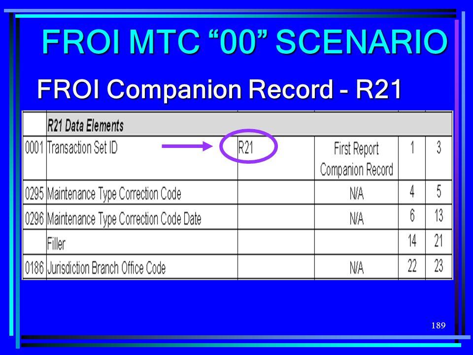 FROI MTC 00 SCENARIO FROI Companion Record - R21