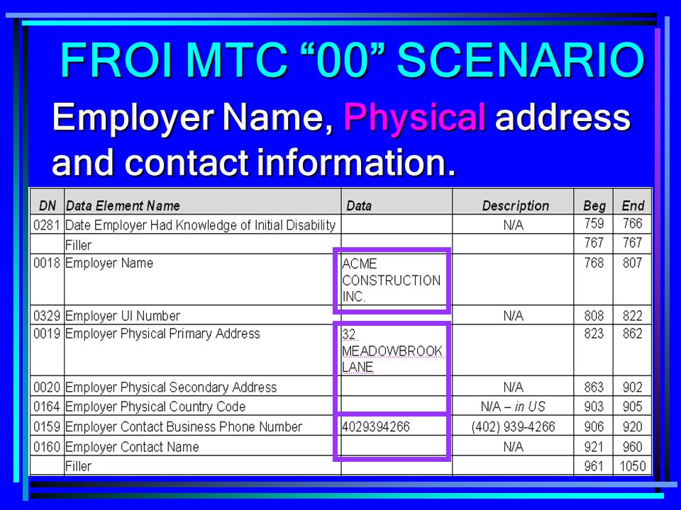 FROI MTC 00 SCENARIO Employer Name, Physical address and contact information.