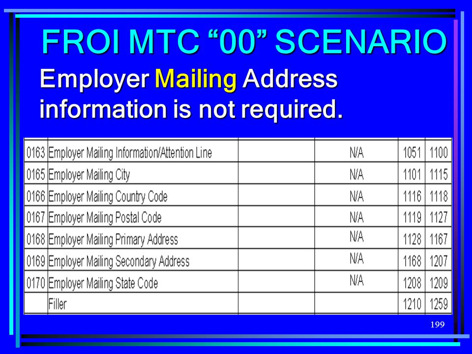 FROI MTC 00 SCENARIO Employer Mailing Address information is not required.