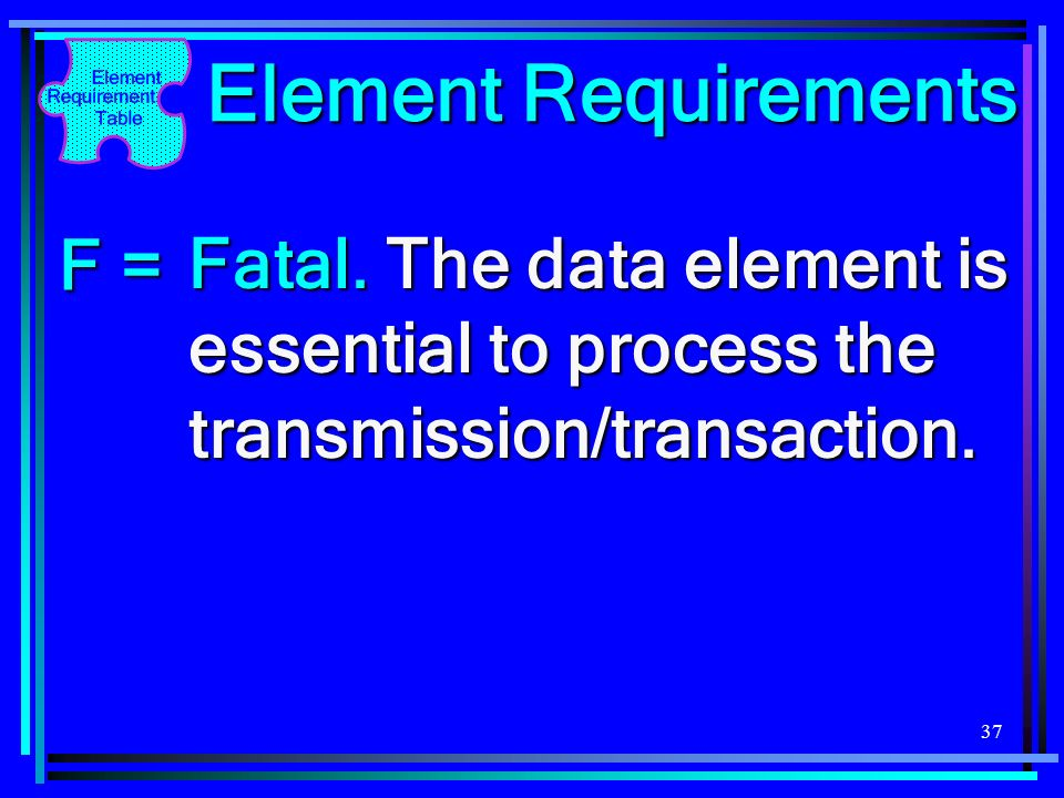 Element Requirements F =