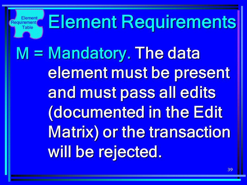 Element Requirements M =