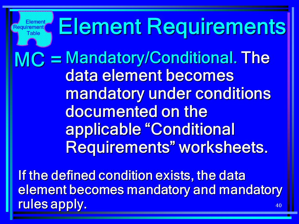 Element Requirements MC =