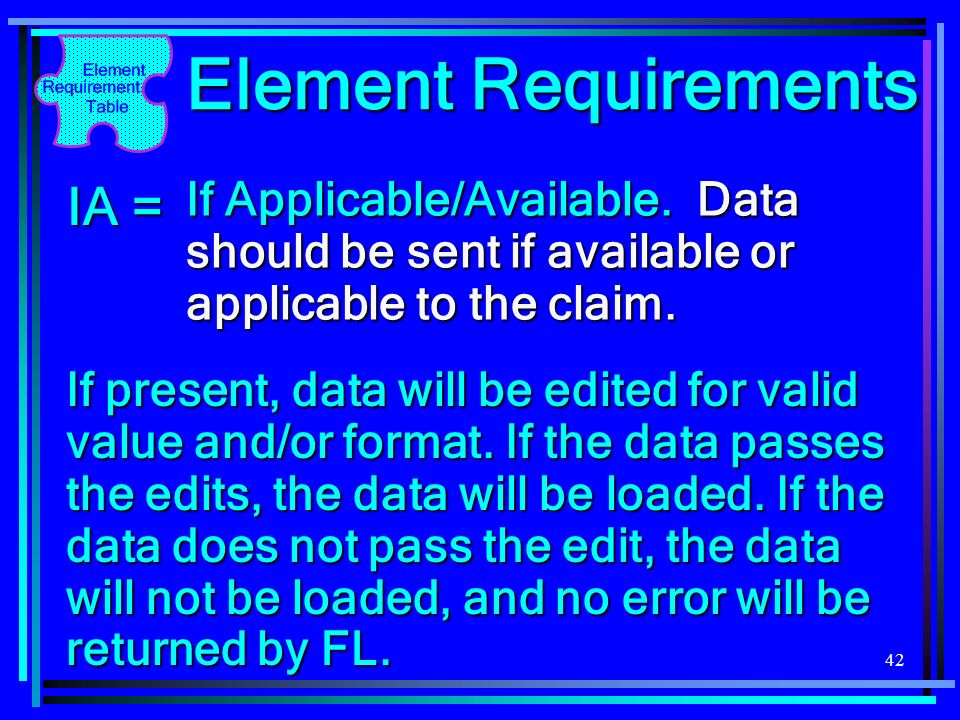 Element Requirements IA =