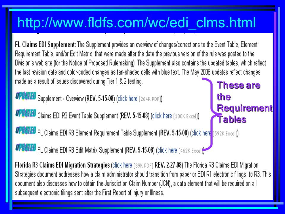 http://www.fldfs.com/wc/edi_clms.html These are the Requirement Tables