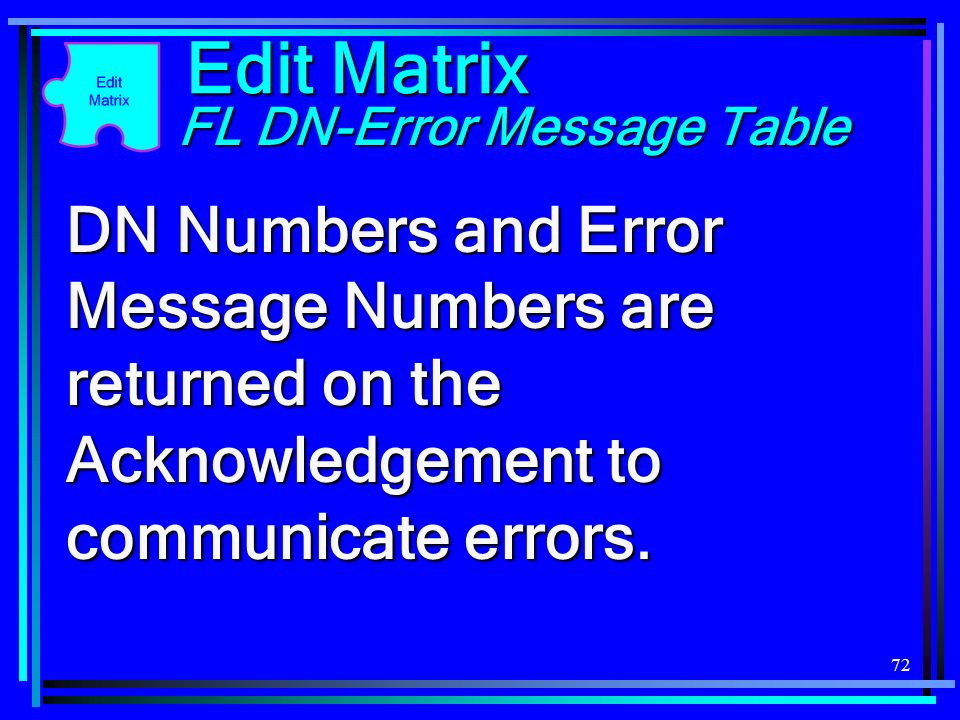 Edit Matrix FL DN-Error Message Table.