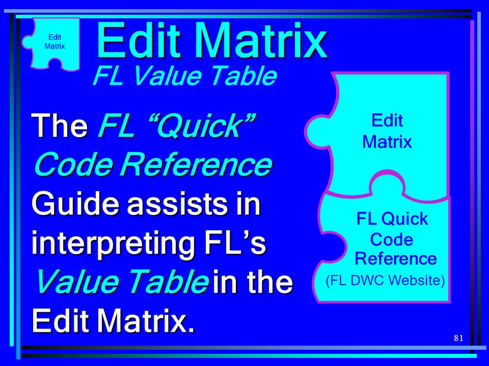 Edit Matrix FL Value Table. The FL Quick Code Reference Guide assists in interpreting FL's Value Table in the Edit Matrix.