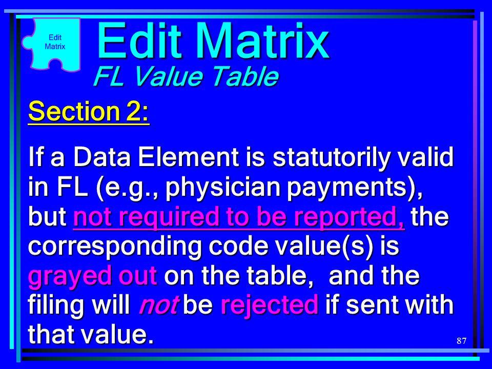 Edit Matrix FL Value Table Section 2: