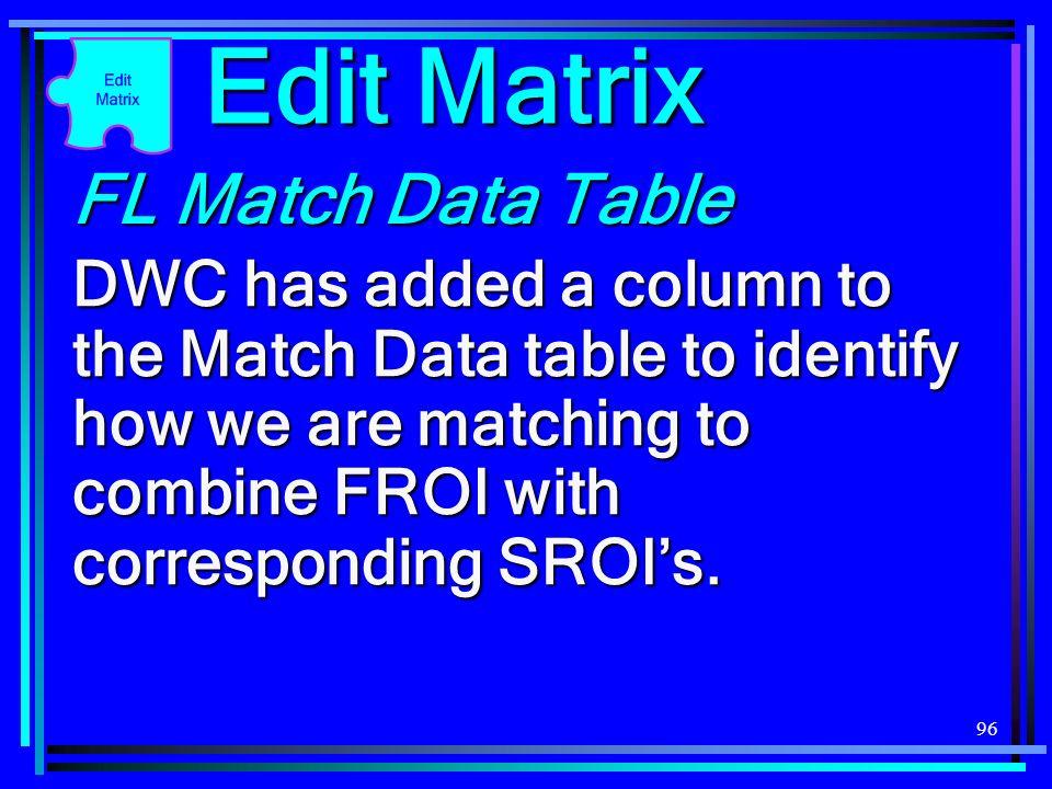 Edit Matrix FL Match Data Table