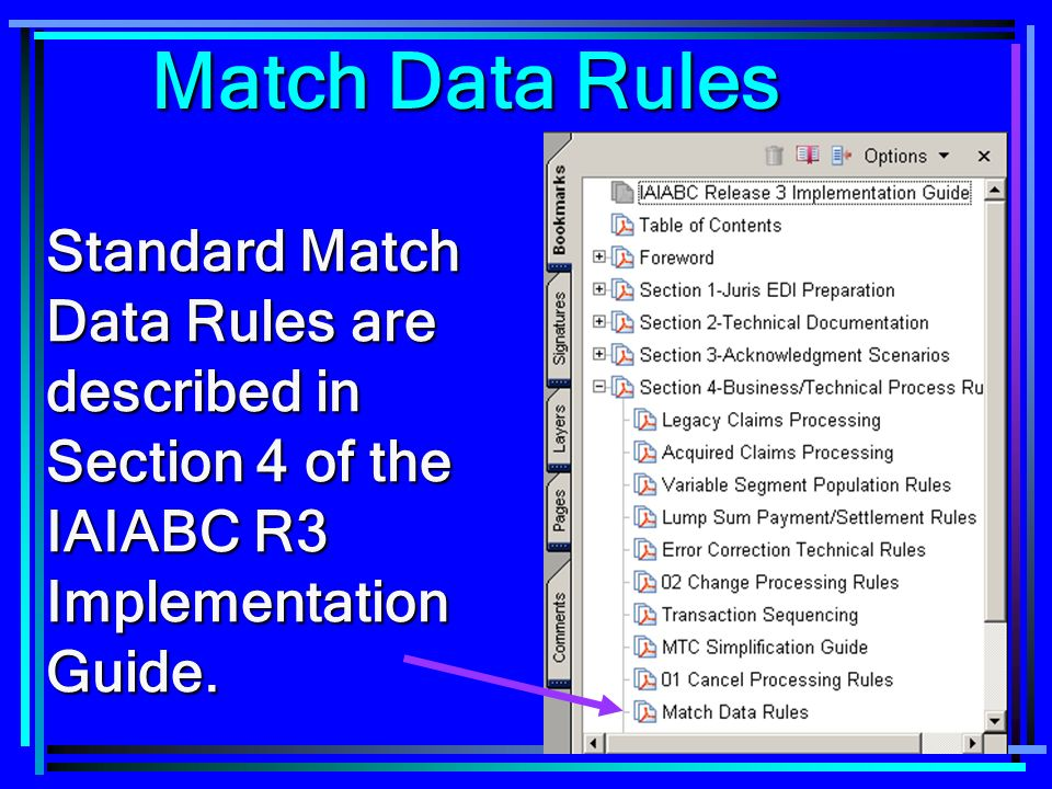 Match Data Rules Standard Match Data Rules are described in Section 4 of the IAIABC R3 Implementation Guide.