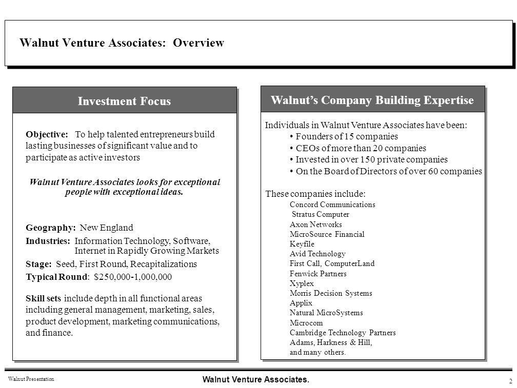 Walnut Venture Associates: Overview