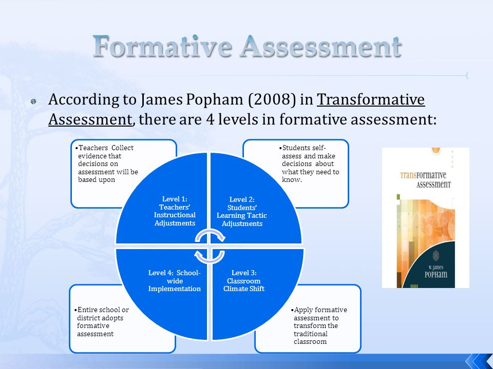 Formative Assessment According to James Popham (2008) in Transformative Assessment, there are 4 levels in formative assessment: