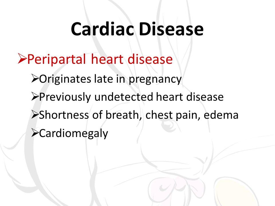 Cardiac Disease Peripartal heart disease Originates late in pregnancy