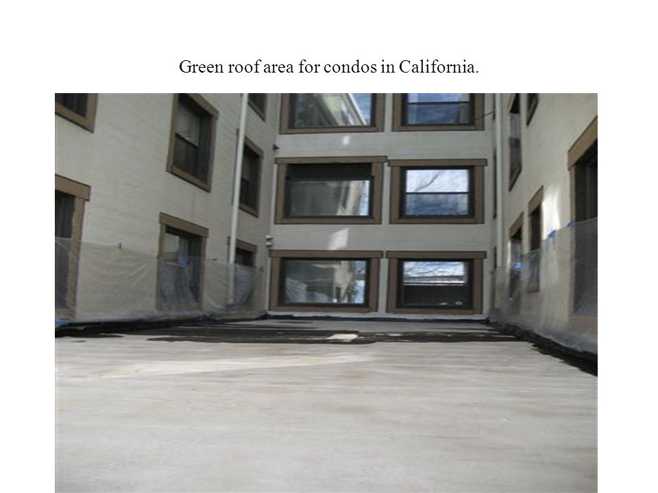 Green roof area for condos in California.