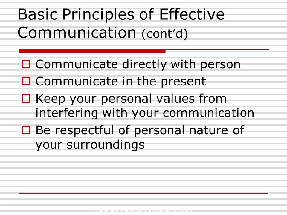 Basic Principles of Effective Communication (cont'd)