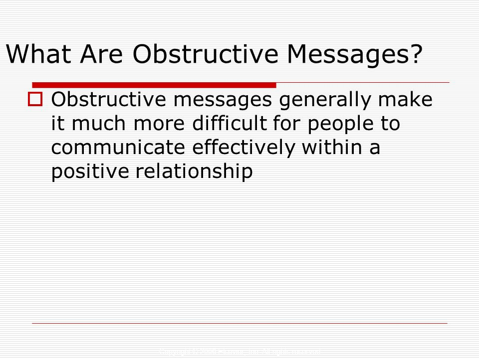 What Are Obstructive Messages