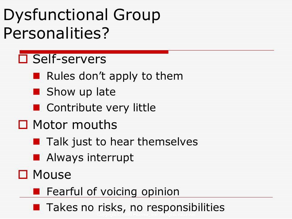 Dysfunctional Group Personalities