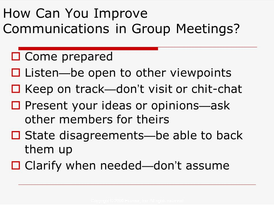 How Can You Improve Communications in Group Meetings