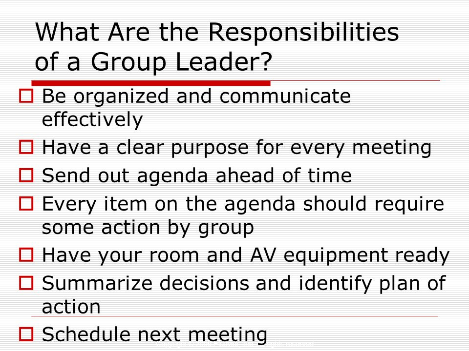 What Are the Responsibilities of a Group Leader