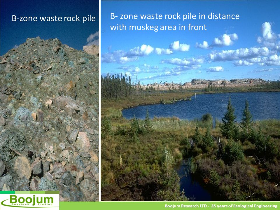 B- zone waste rock pile in distance with muskeg area in front