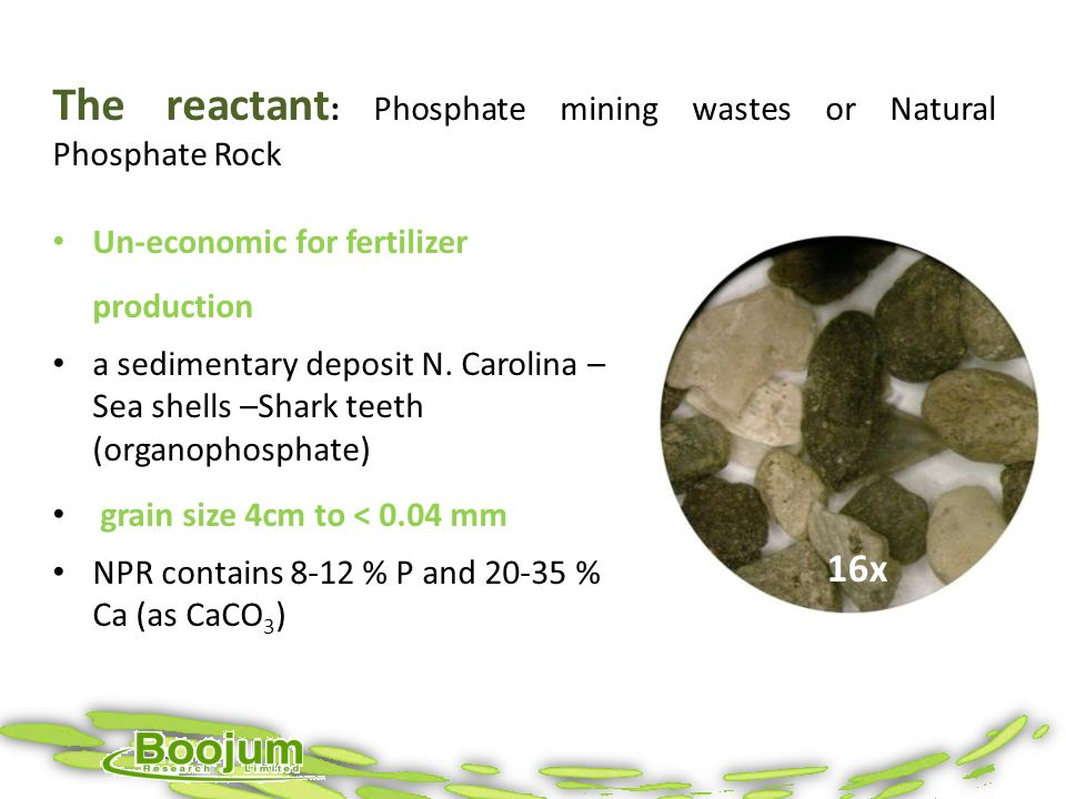 The reactant: Phosphate mining wastes or Natural Phosphate Rock