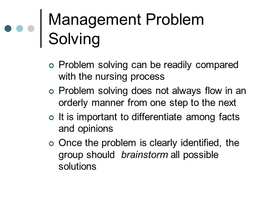 Management Problem Solving