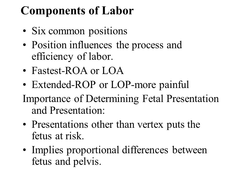 Components of Labor Six common positions