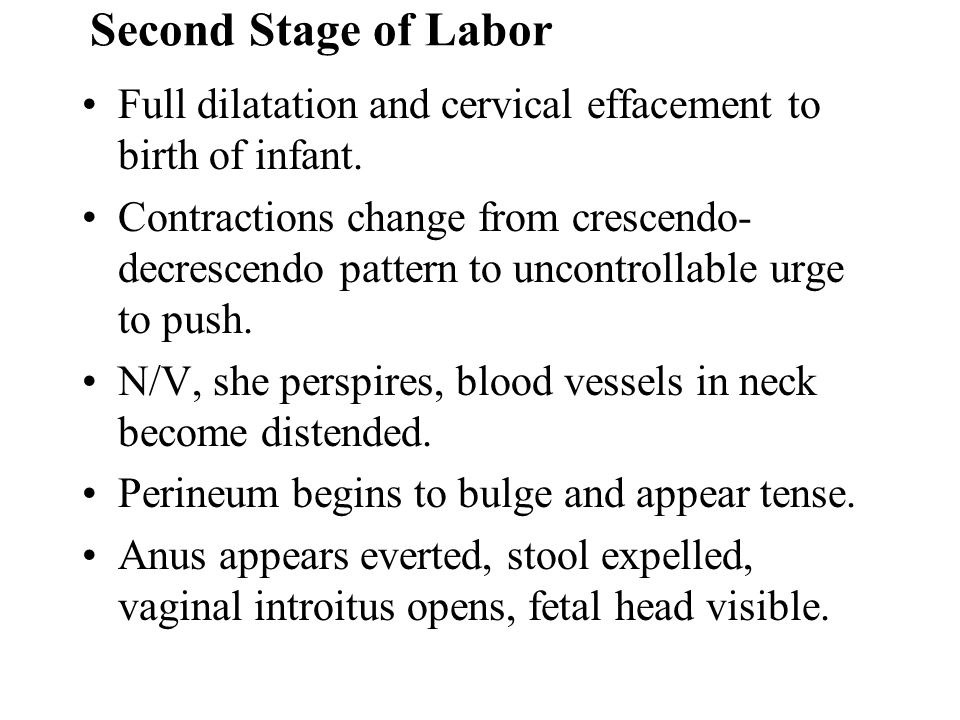 Second Stage of Labor Full dilatation and cervical effacement to birth of infant.