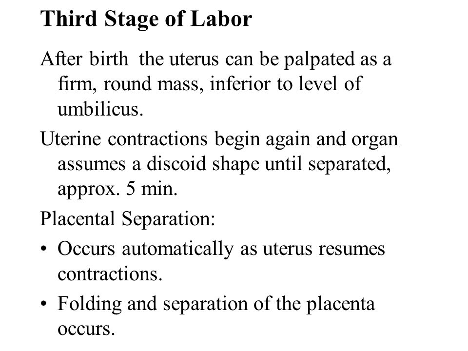 Third Stage of Labor After birth the uterus can be palpated as a firm, round mass, inferior to level of umbilicus.