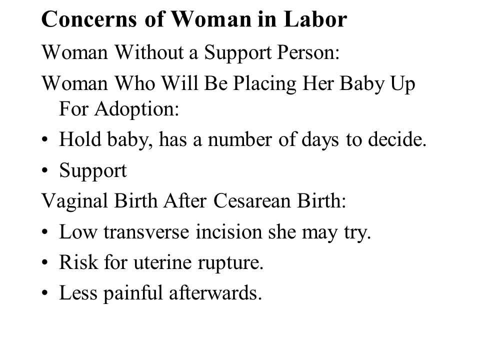 Concerns of Woman in Labor