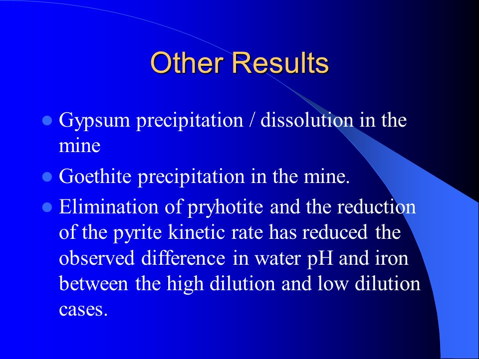 Other Results Gypsum precipitation / dissolution in the mine