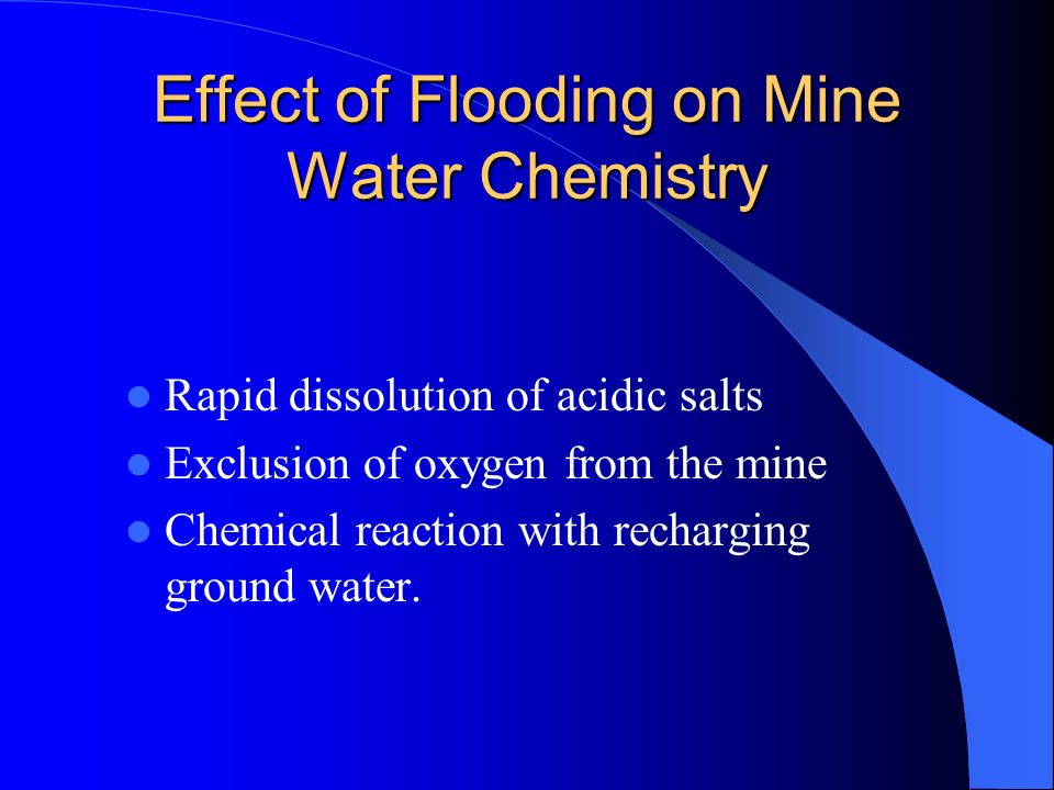 Effect of Flooding on Mine Water Chemistry