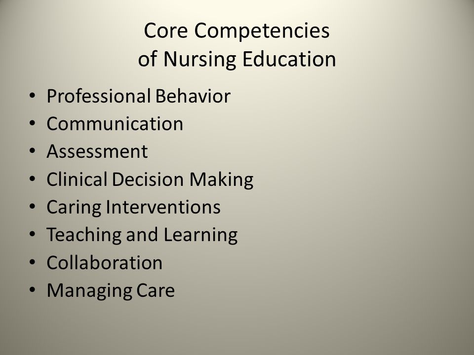 Core Competencies of Nursing Education