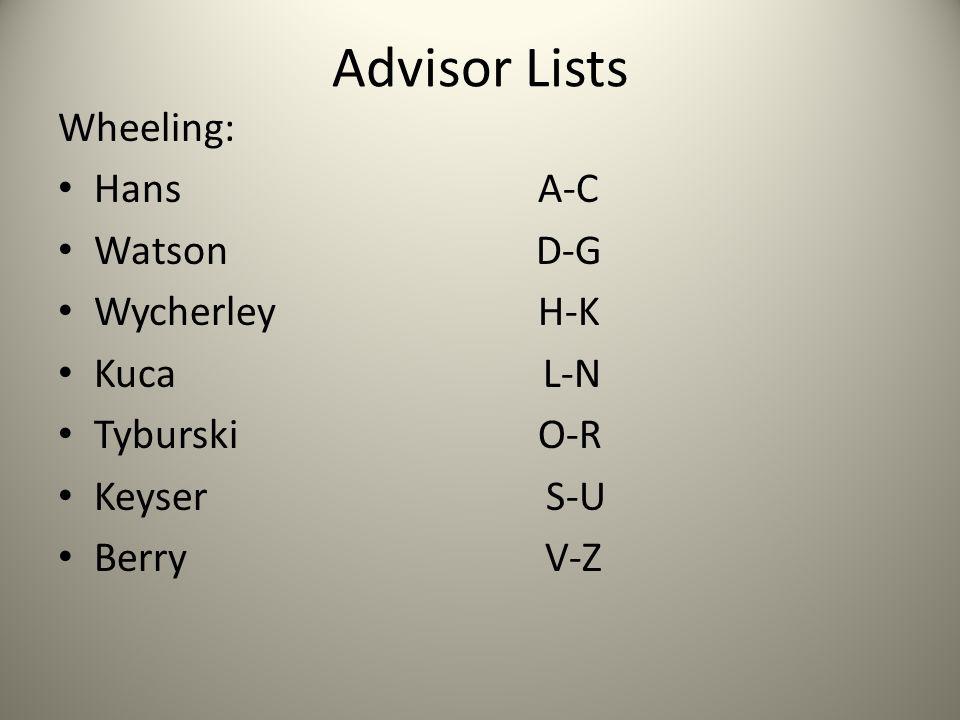 Advisor Lists Wheeling: Hans A-C Watson D-G Wycherley H-K Kuca L-N