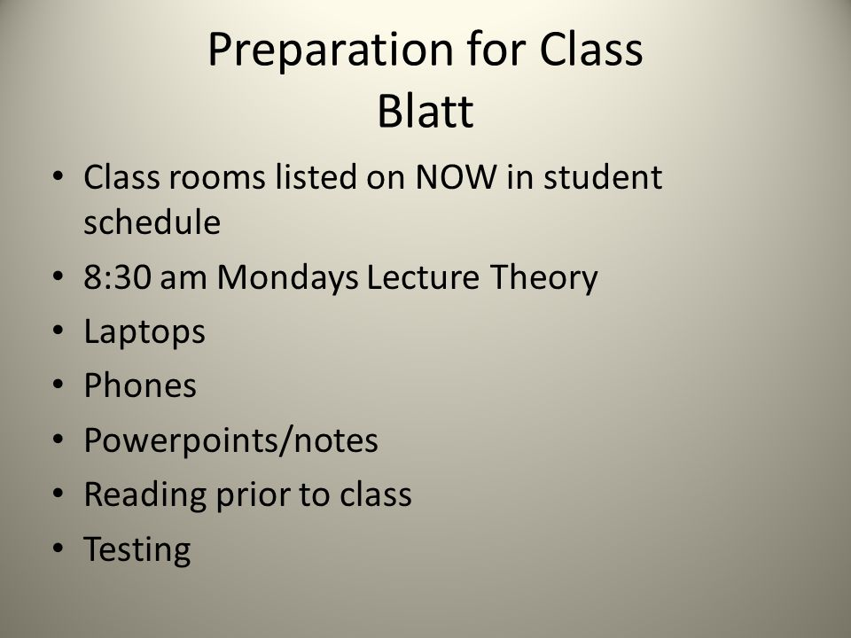 Preparation for Class Blatt