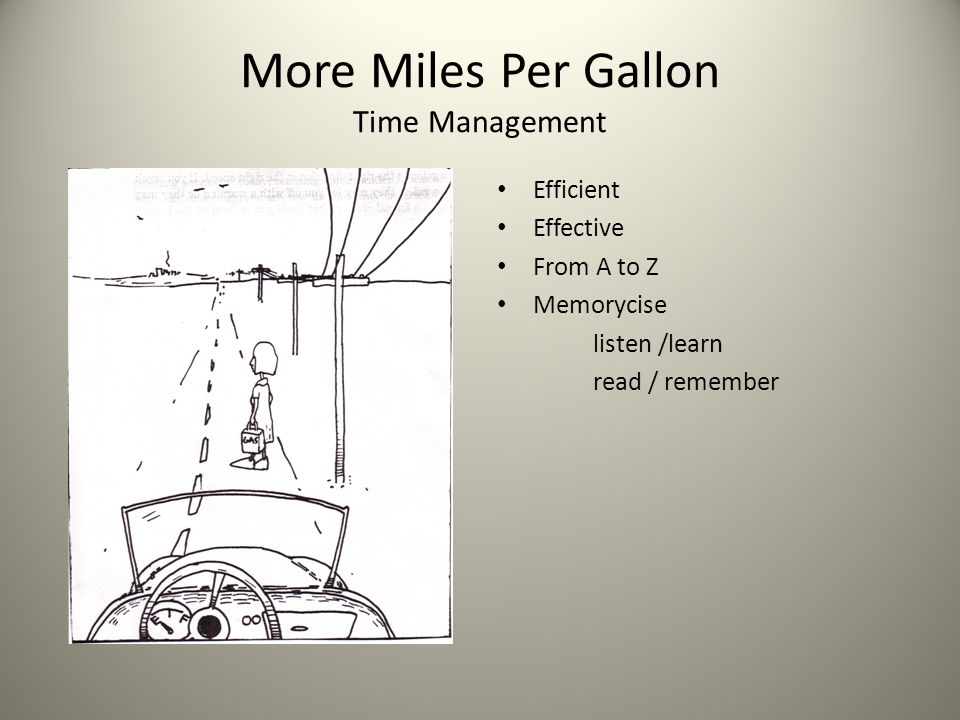 More Miles Per Gallon Time Management