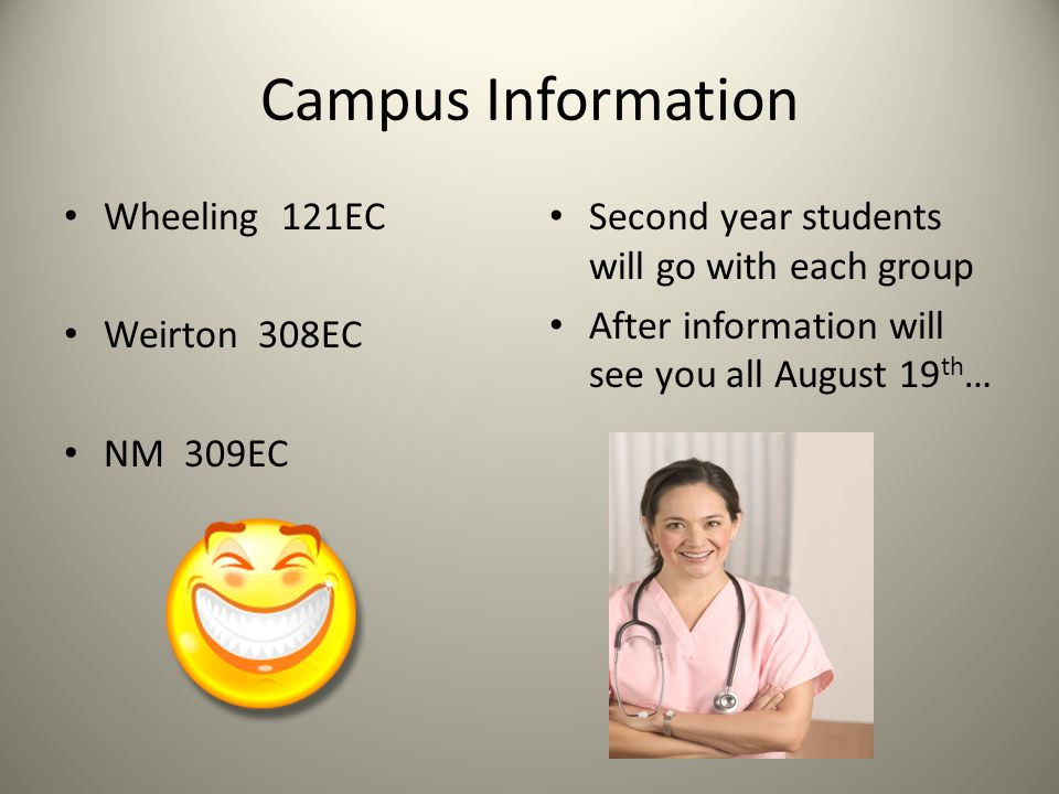 Campus Information Wheeling 121EC Weirton 308EC NM 309EC