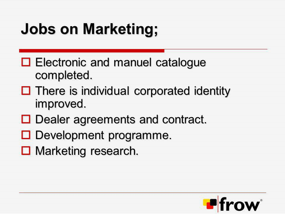 Jobs on Marketing; Electronic and manuel catalogue completed.