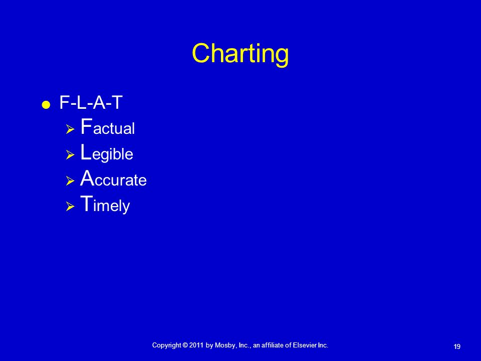 Charting F-L-A-T Factual Legible Accurate Timely
