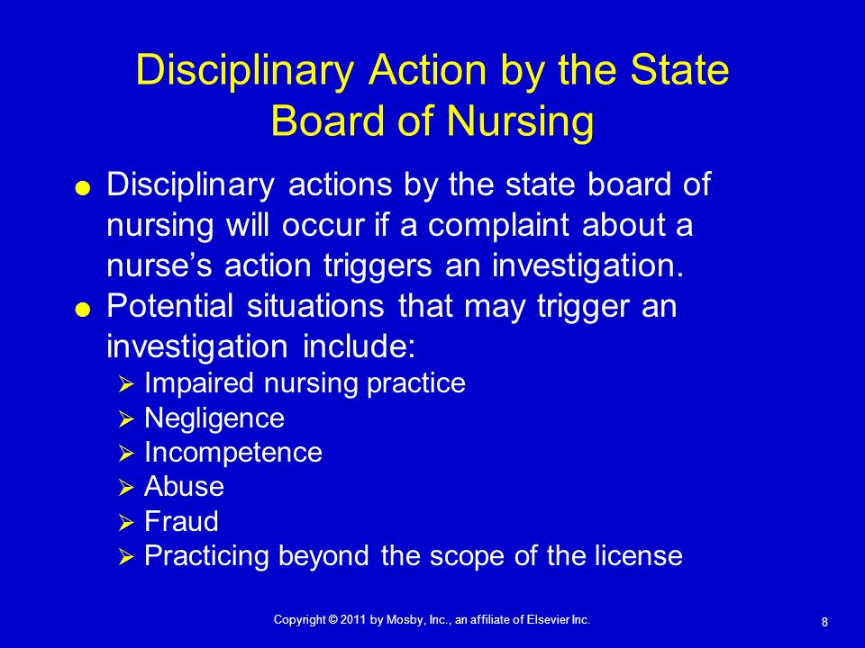 Disciplinary Action by the State Board of Nursing