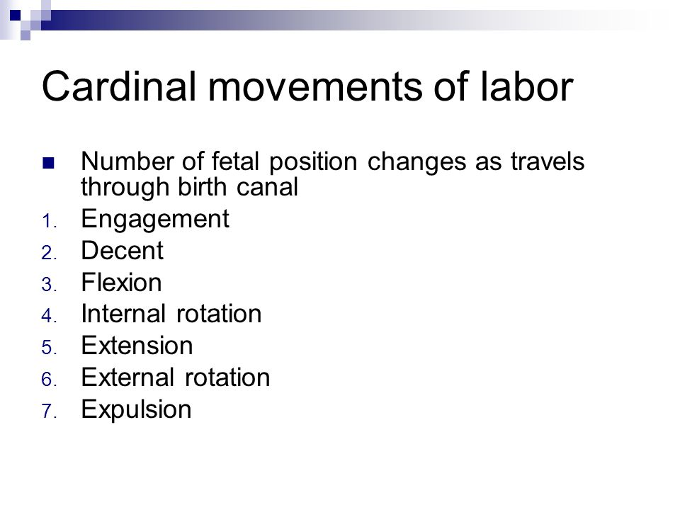 Cardinal movements of labor