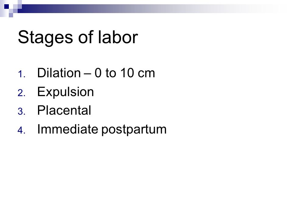 Stages of labor Dilation – 0 to 10 cm Expulsion Placental