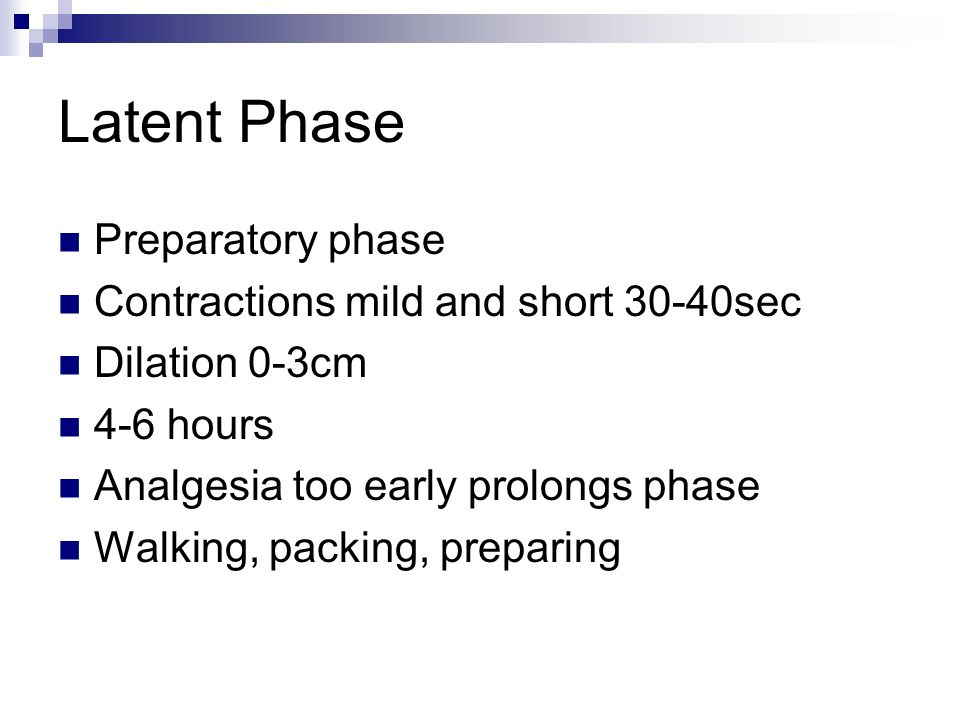 Latent Phase Preparatory phase Contractions mild and short 30-40sec