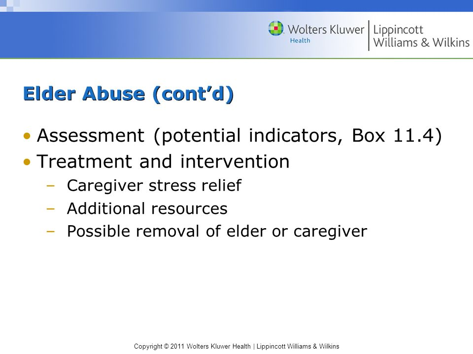 Assessment (potential indicators, Box 11.4) Treatment and intervention