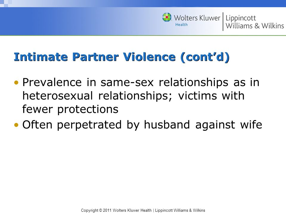 Intimate Partner Violence (cont'd)