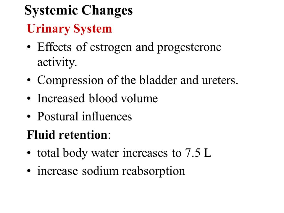 Systemic Changes Urinary System