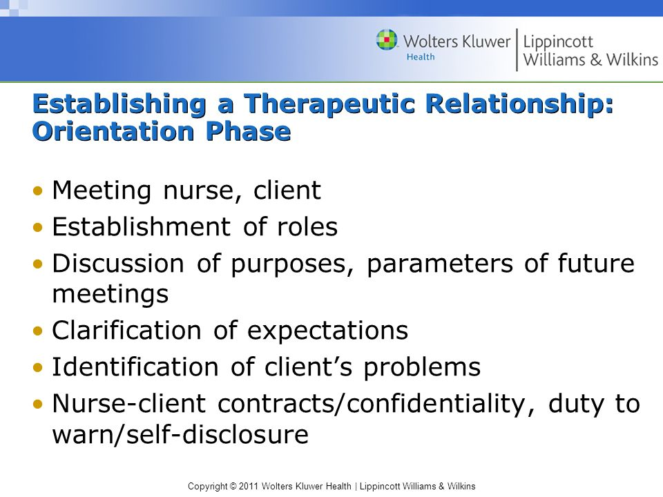 Establishing a Therapeutic Relationship: Orientation Phase